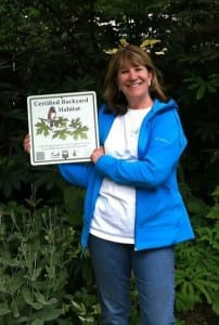 Sherrie G., who earned her silver level Backyard Habitat certification in Spring 2013.