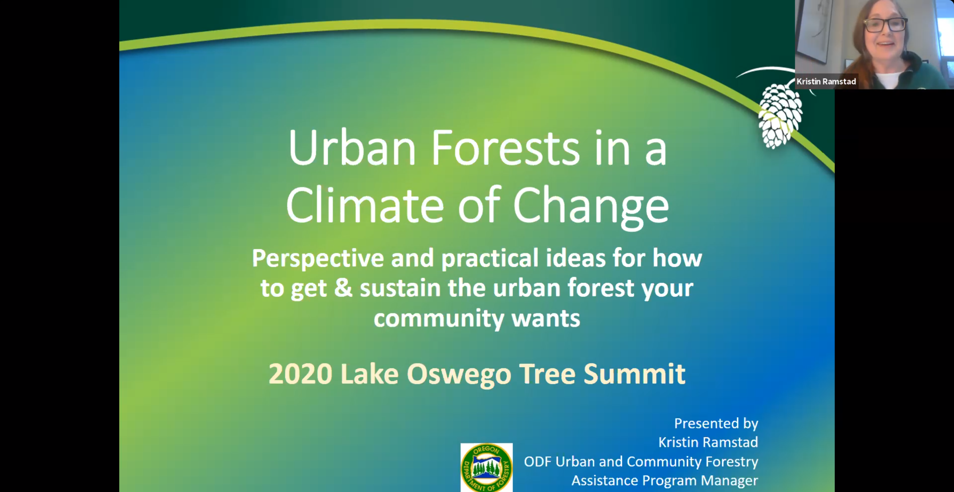 """Kristen Presents at the 2020 Tree Summit. We see a screen grab of Kristen and her presentation on Zoom. On screen we see """"Urban Forests in a Climate of Change"""""""
