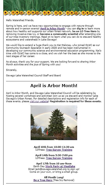 Arbor Month 2021 Newsletter