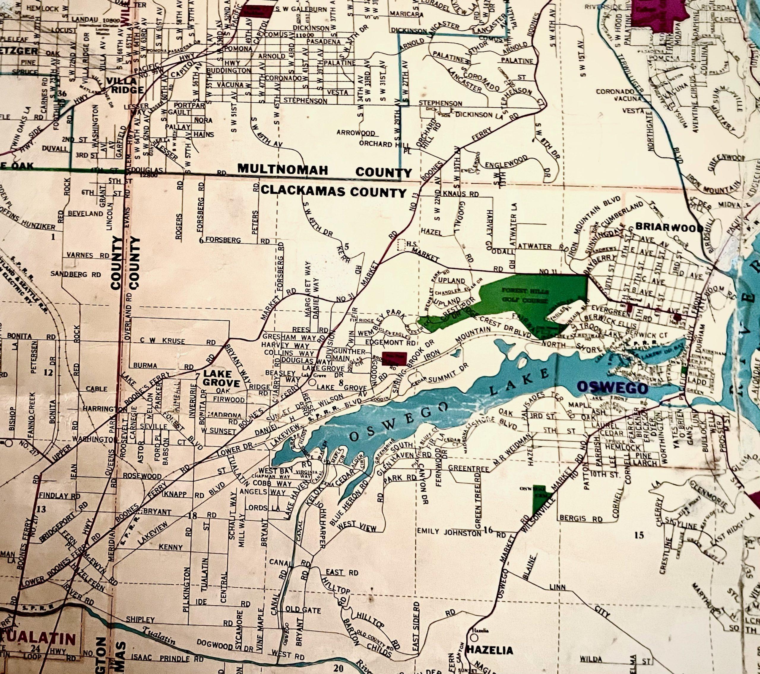 Historic map of Lake Oswego area