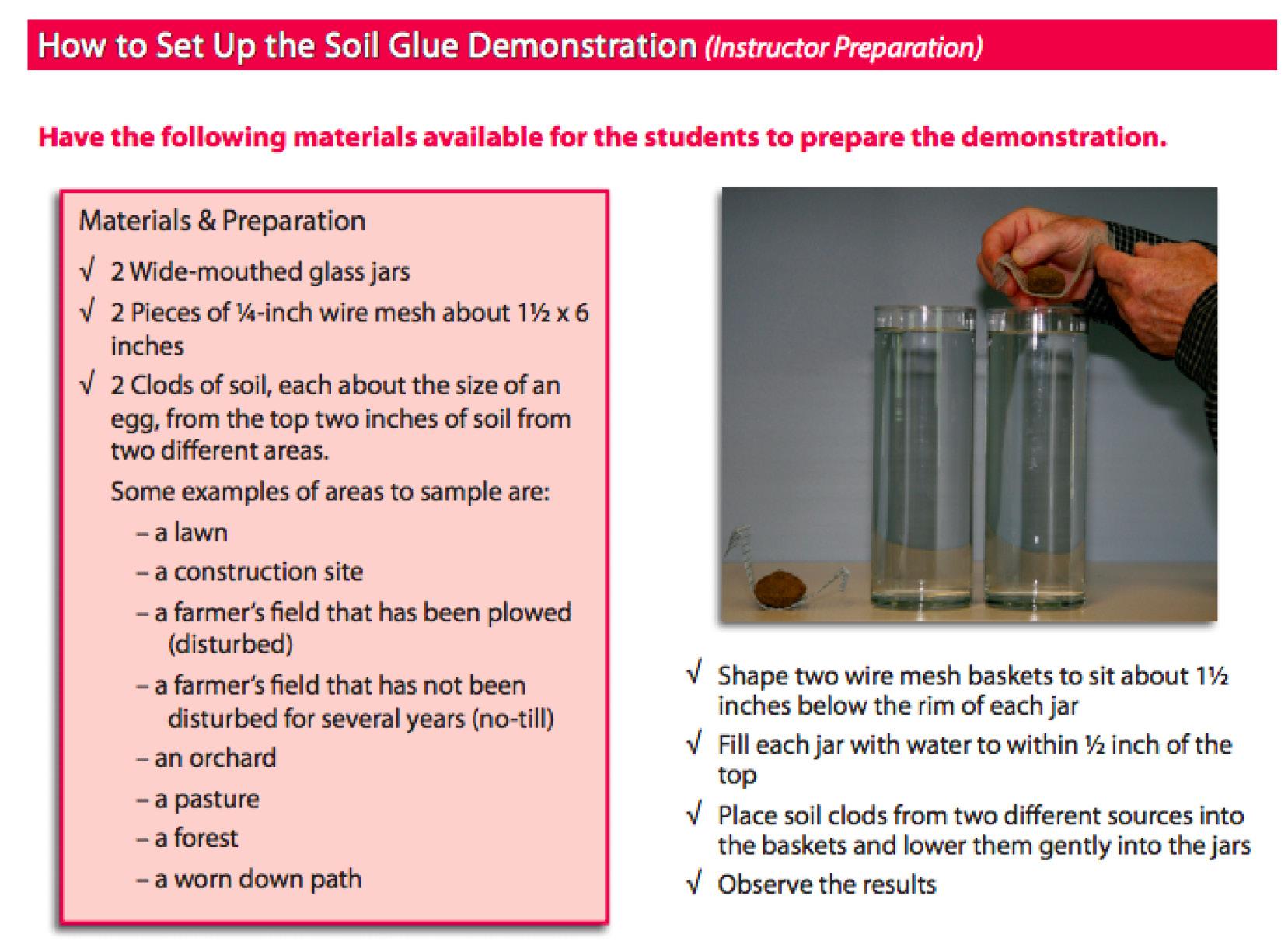 Teacher Prep for Soil Glue Activity